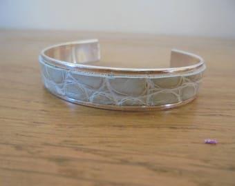 bracelet jonc plaqué argent et cuir