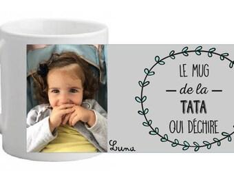 "CERAMIC MUG ""the Auntie mug (or other) that rocks"" personalized"