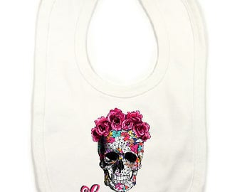 "Large bib personalized ""skull"""