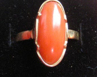 gold ring with Mediterranean Red coral art deco