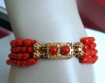 Dutch region ornament, Volendam. Gold Bracelet with natural red coral. hot red natural color