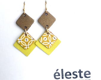 Yellow leather earrings / yellow origami patterns / lightweight earrings with hypoallergenic and anti oxidant clip