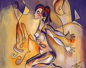 Phrodite, acrylic painting, figurative painting, canvas frame