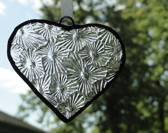 Stained Glass Heart Suncatcher, Clear, Free Gift Bag