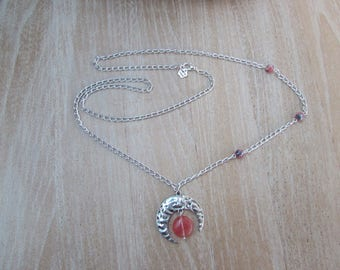 """Long asymmetrical necklace and a puck tourmaline """"Crescent"""""""