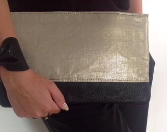 Evening clutch black leather and gold linen