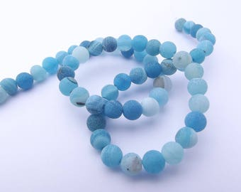 60 frosted Blue 6 NYA-110 mm agate beads