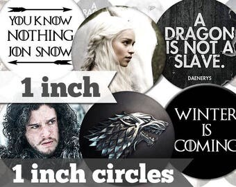 1 inch - Game of Thrones - 45 Images - Printable INSTANT DIGITAL DOWNLOAD - Bottle Caps, Magnets, Stickers, Buttons, Collage Sheet - a017