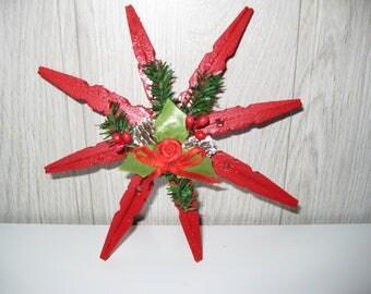 décoration de noël à suspendre étoile en épingles à linge