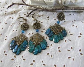 Set * Eastern * tassels in blue glitter resin - handmade