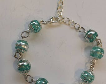 GLASS PEARL BRACELET LIGHT BLUE AND SILVER