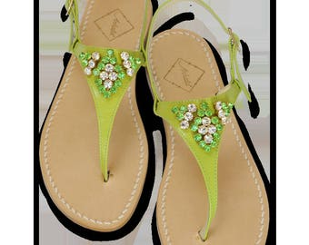 Ladies Amanda Apple Green Leather Sandals Embellished with Swarovksi Crystals