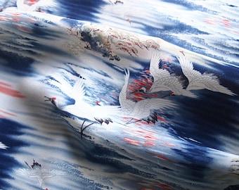 Beautiful Japanese fabric fluid crane silk artificial 113 * 50 cm