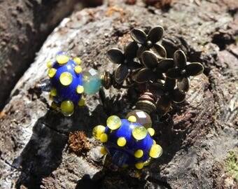"beautiful Bohemian earrings ""blue and yellow polka dots"""