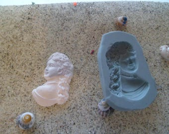 woman old style for fimo wepam plaster bust silicone mold