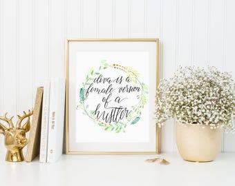 Watercolor floral wreath | Diva | Beyonce Lyrics | Digital Print | Instant Download | Gift | Print | Lyrics