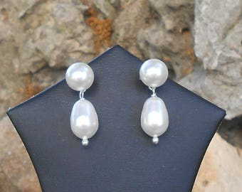 Pearl Earrings in 925 sterling silver Swarovski Crystal cream earrings Swarovki crystal, gift for her, earrings for her