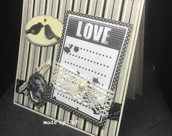 """retro """"love"""" genuine lace... model unique card!"""