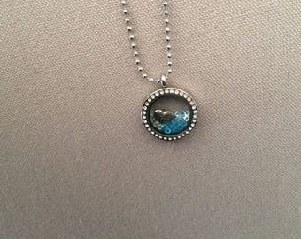 "Metal necklace with glass ""floating locket charm"" Locket with Rhinestones"