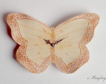 Original ceramic Butterfly shape clock, decorative lace orange