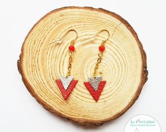 """""""Naomi"""" red leather and gold earrings"""
