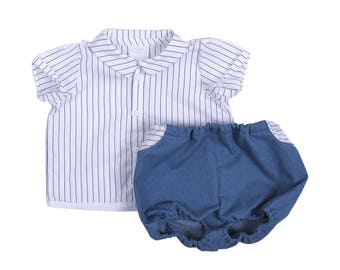 Baby boy gentleman set chic bloomer jeans and shirt