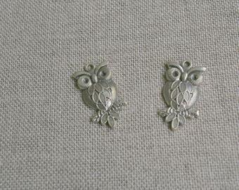 charms, pendants, charm owl, OWL silver metal