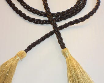 Tie / belt braided with black and gold tassels