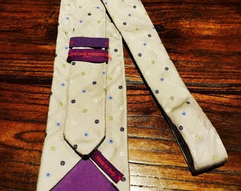 Luciano Rossetti Tie (Grey w/ blue, green and white flower dots)