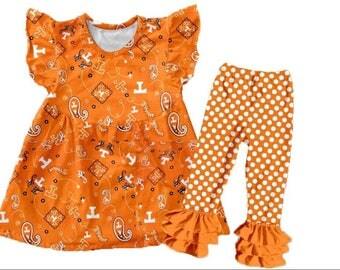 Girl's UT Tennessee VOLS Ruffle Pants Pearl Set
