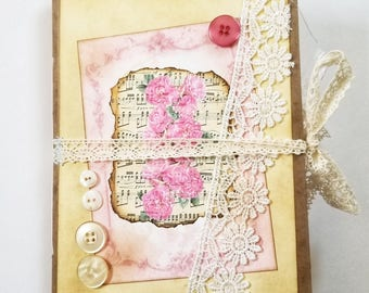 Delicate Pink Jotter's Journal, Pink Junk Journal, Vintage Junk Journal, Handmade Journal, Pink Ephemera, Shabby Chic, Floral Junk Journal