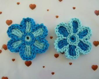 2 Dark turquoise and clear - bicolor flowers applique crochet