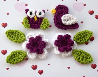 Set of 2 plum and white or red and white color with 4 sheets, 1 bird and flowers 1 OWL - 8 crochet pieces