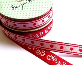 Tilda 1 m x 2 units fabric red and white ribbons