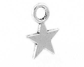 10 small charm in silver stars