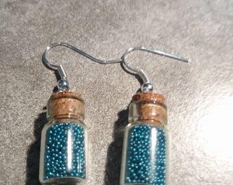 blue glass bottle Earrings