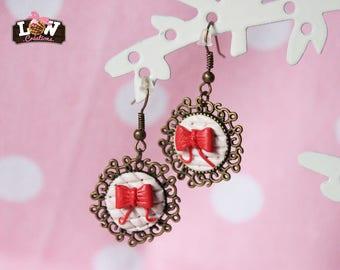 Hoop earrings - Lovely romantic quilted