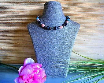 Necklace beads, vintage coral pink, blue glass and Murano glass tricolor, CCB and wood block