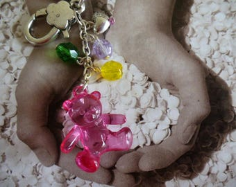 Czech glass beads and translucent pink Teddy bear key holder