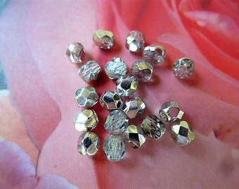 quality silver and clear AB Crystal faceted beads 4 mm set of 50
