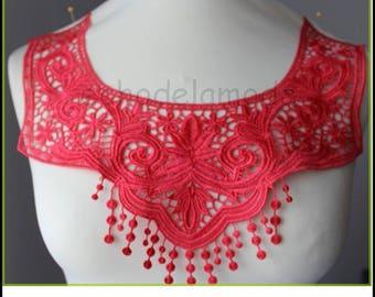 Cowl neck dress, top ref 722 customisation coral guipure lace applique