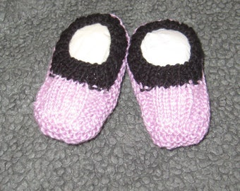 Hand knitted baby booties - pink with black cuff