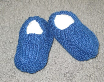 Hand knitted baby booties - medium blue