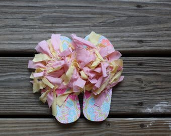 Flower Pattern Size 12-13 Kid's | Flip Flops | Shaggy Shoes | Unique and one of a kind!