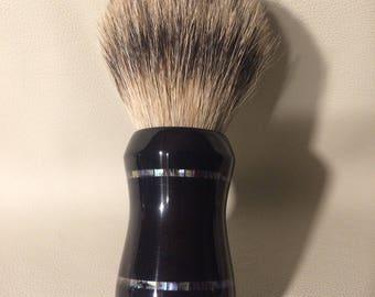 Custom Double Inlaid Ebony Shave Brush