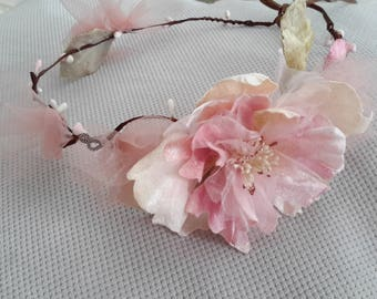 Couronne headband grande fleur rose
