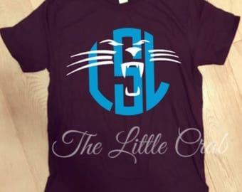 Carolina Panthers Inspired Monogram Tee: All sizes!!