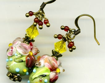 "Metal BRONZE ""Color Bouquet"" earrings"