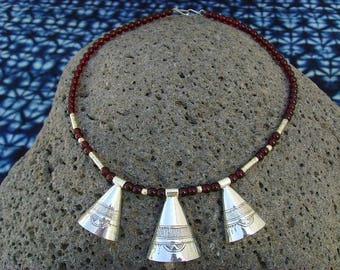 Tuareg necklace - three silver cones - tgnecs15