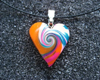 Small orange/multicolor spiral pop varnished polymer clay heart pendant